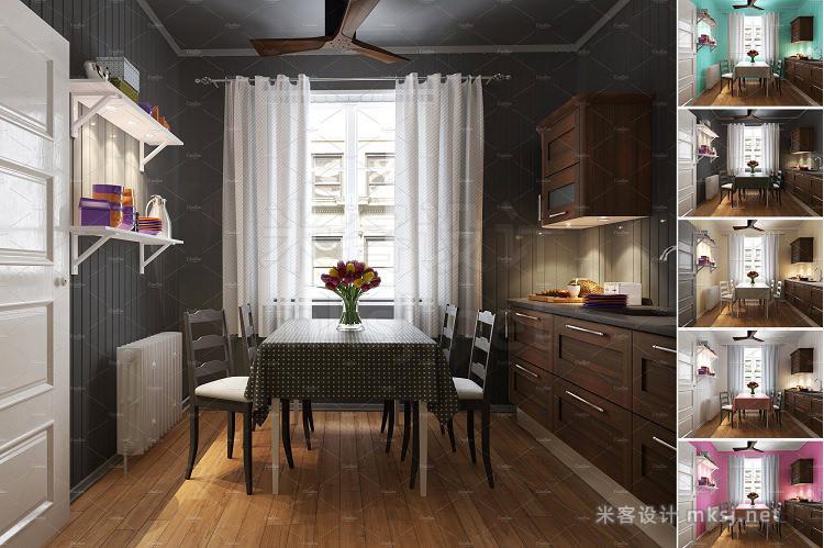 VI贴图 厨房餐厅窗帘桌布PS模型mockup样机