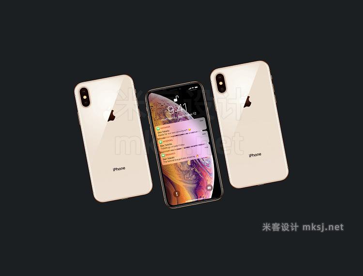 VI贴图 苹果手机2018 iPhone XS XR MAX PS模型mockup样机