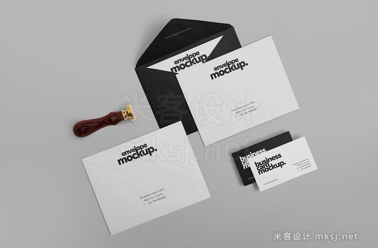 VI贴图 信封贺卡A4纸张文具品牌设计PS模型mockup样机