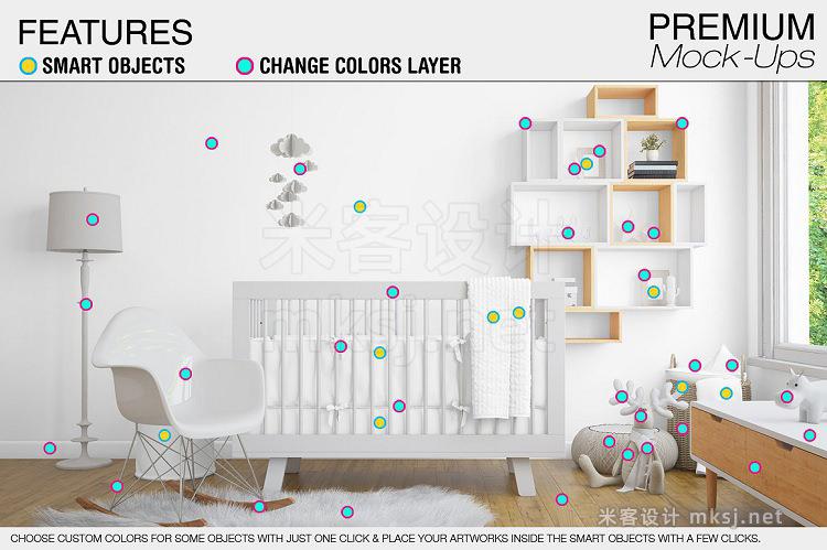 VI贴图 婴儿房婴儿床艺术墙相框场景PS模型mockup样机