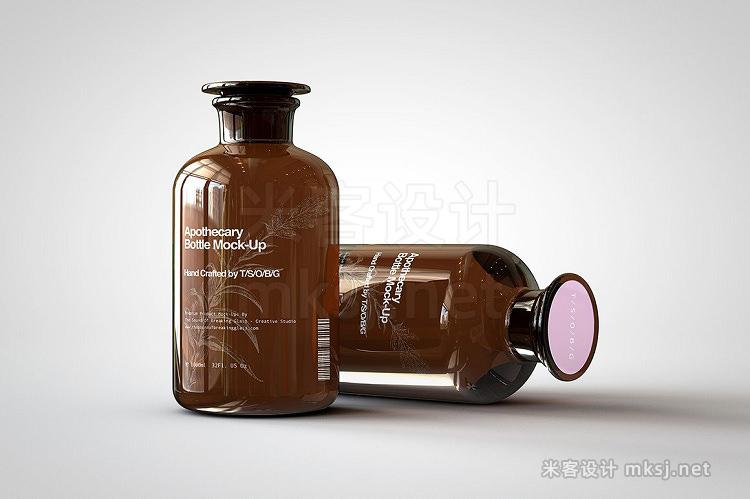 VI贴图 茶色磨口药瓶试剂瓶PS模型mockup样机
