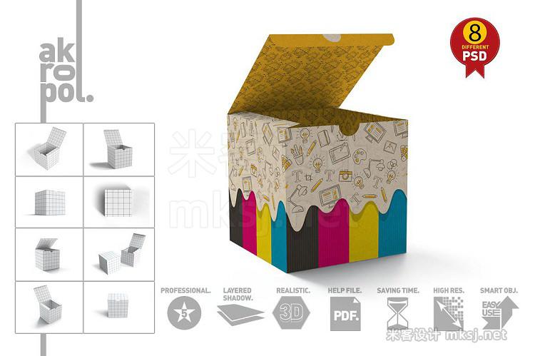 VI贴图 正方体纸盒展示PS模型mockup样机