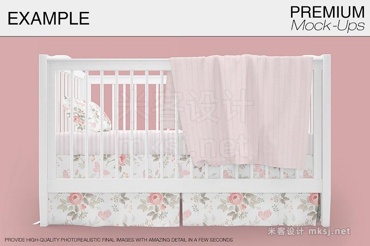 VI贴图 欧式婴儿床床单纺织物PS模型mockup样机