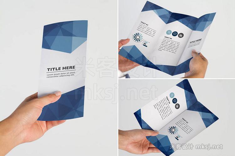 VI贴图 3款手持传单折页广告手册PS模型mockup样机