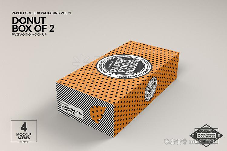 VI贴图 甜圈糕点盒包装纸盒PS模型mockup样机