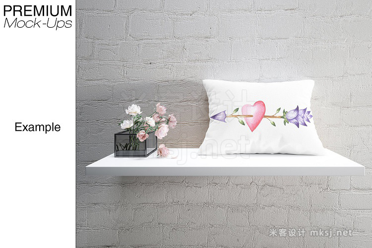 VI贴图 方枕长条形心形枕头展示PS模型mockup样机