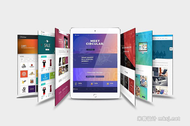 VI贴图 iPad平板网页UI设计项目展示PS模型mockup样机