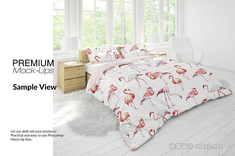 VI贴图 卧房家纺床上用品被套枕套枕头被子床单PS模型mockup样机