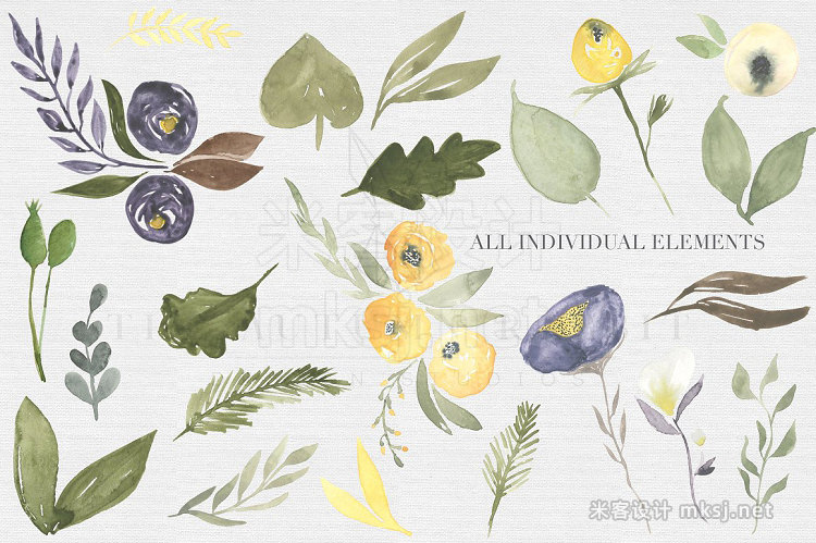 png素材 Mustard wine Floral Clipart Set