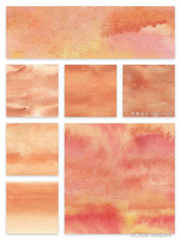 png素材 Watercolor Seamless Textures Orange