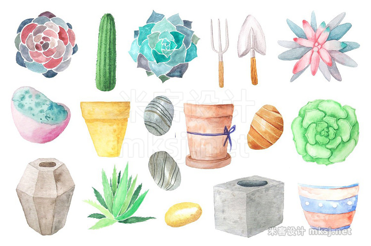png素材 Watercolor Succulents Collection