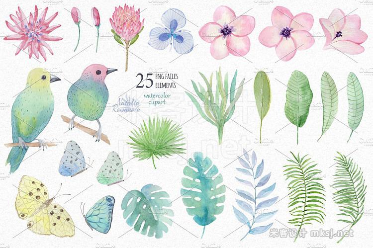 png素材 Tropical watercolor set 3 Plumeria