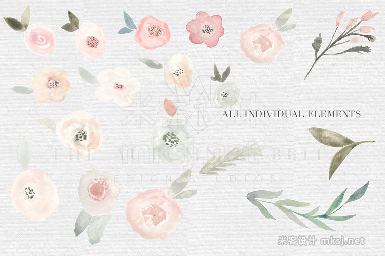 png素材 Spring Floral Watercolor Clipart Set