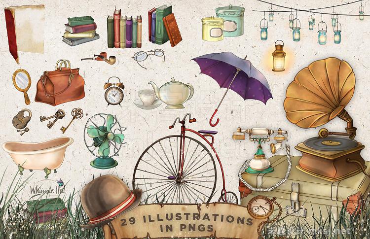png素材 Vintage items illustration set