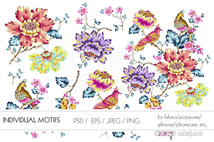 png素材 Exquisite Floral Print in 2 Repeats