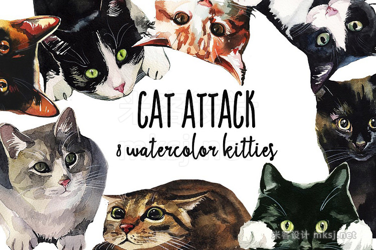 png素材 Cat Attack Watercolor PNG Collection