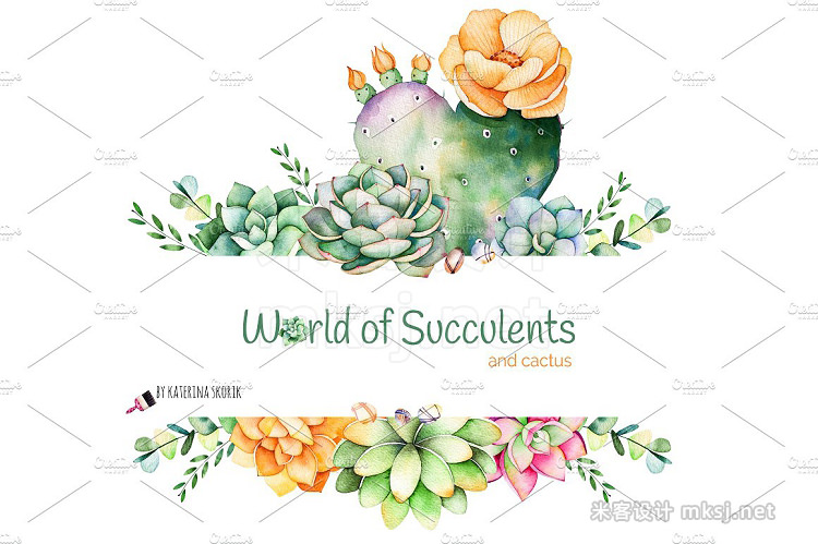 png素材 World of Succulents and cactus