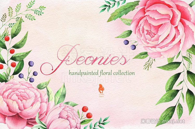 png素材 Peonies Watercolor collection