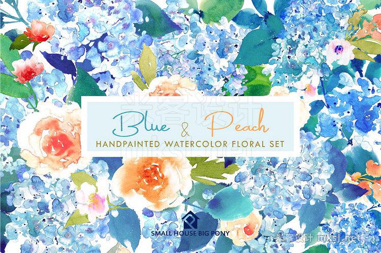 png素材 Blue Peach- Watercolor Floral Set