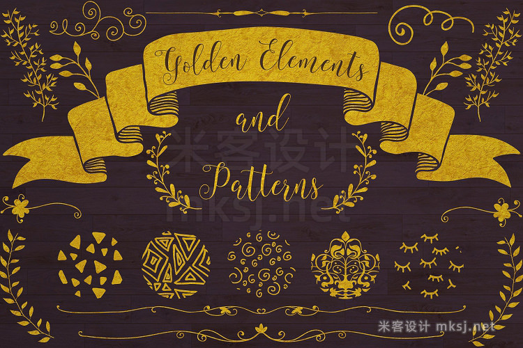 png素材 Golden Elements  20 Patterns