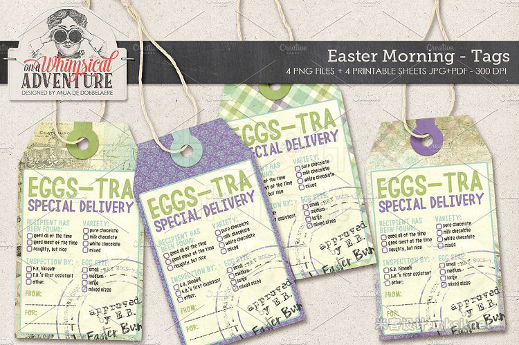 png素材 Easter Eggs-tra Delivery Tags