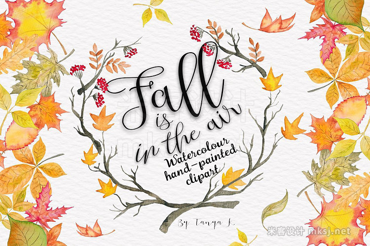 png素材 Autumn Leaves Watercolor clipart