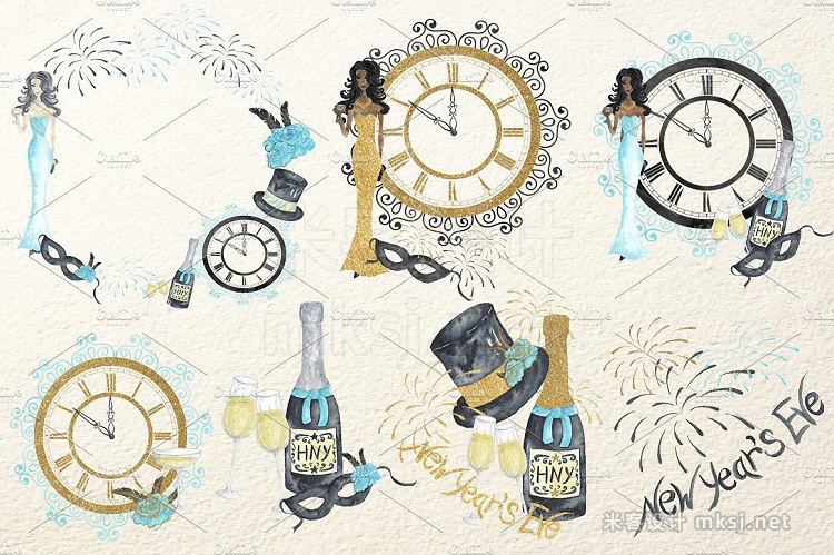 png素材 New Year`s Eve Watercolor Collection