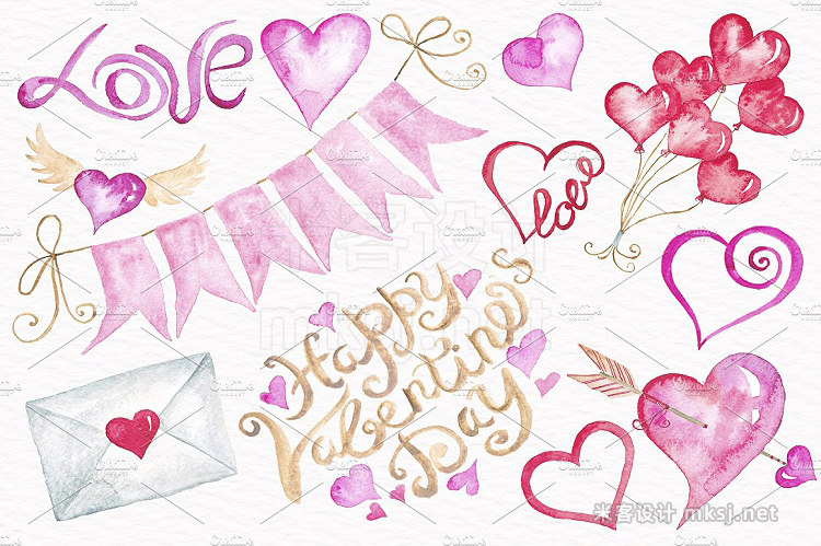 png素材 Valentine's Day Watercolor Clipart