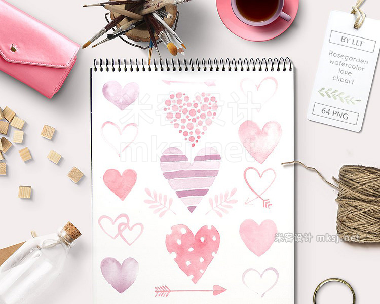 png素材 Heart Watercolor Graphics 64 PNG