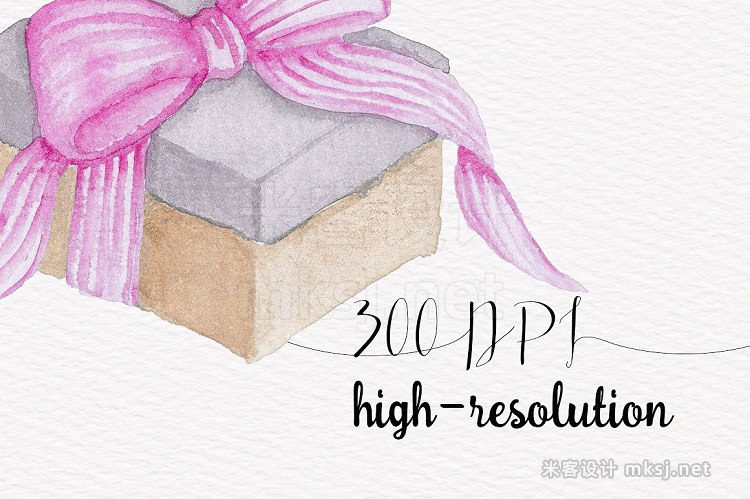 png素材 Pink Gift Boxes Watercolor clipart