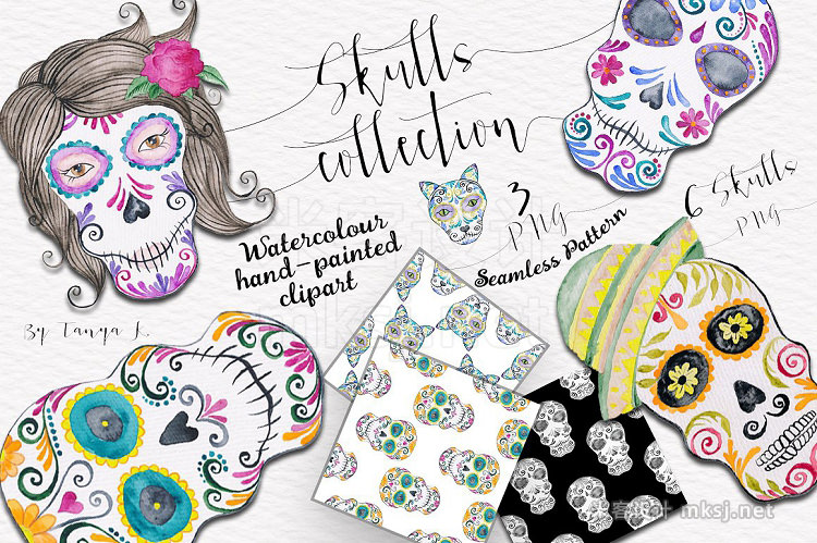 png素材 Colorful Skulls Collection