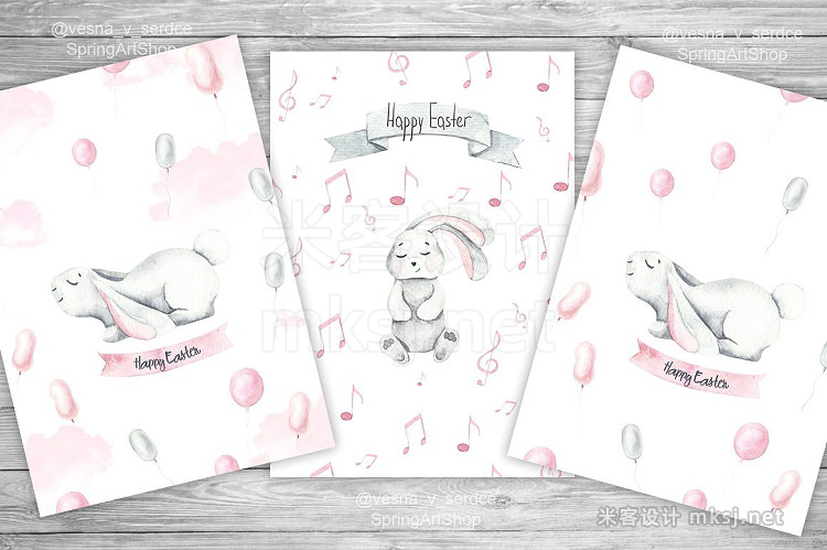 png素材 Baby bunny watercolor clipart cards