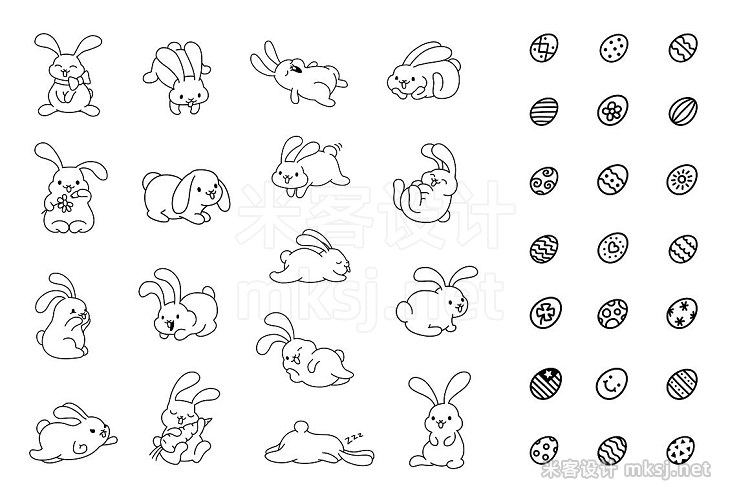 png素材 Bunny Hop Icons And Seamless Pattern