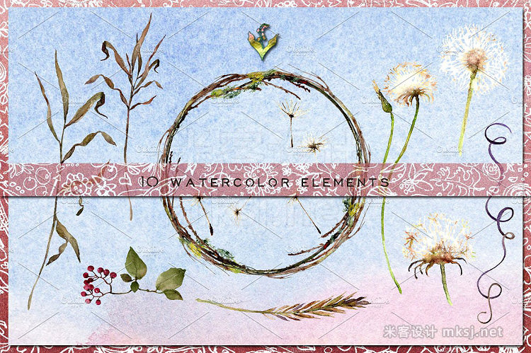 png素材 Dandelion Wishes Watercolor Clipart