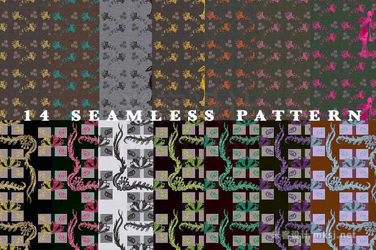 png素材 Elegant handdrawn floral graphic set