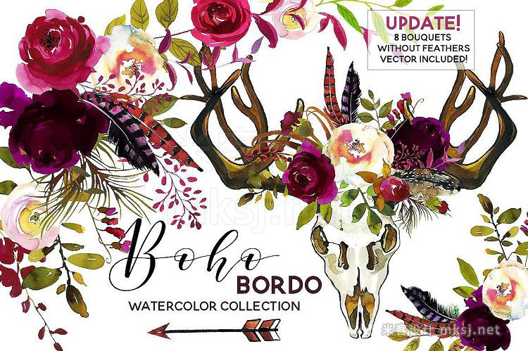 png素材 Boho Bordo Watercolor Flowers