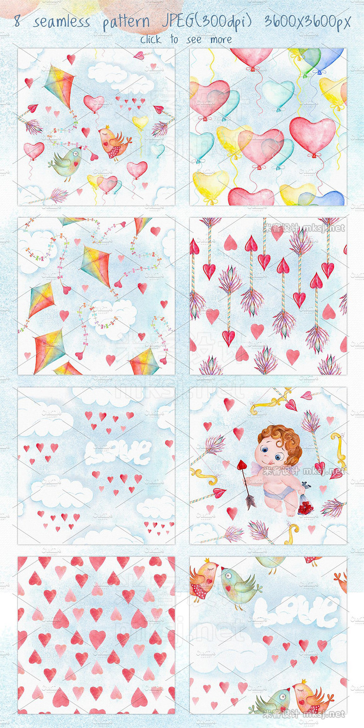 png素材 Valentines day love watercolor set