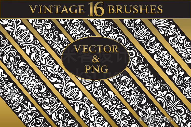png素材 16 vintage floral brushes