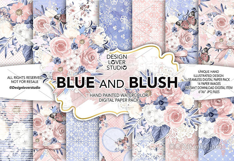 png素材 Watercolor BLUE and BLUSH DP pack