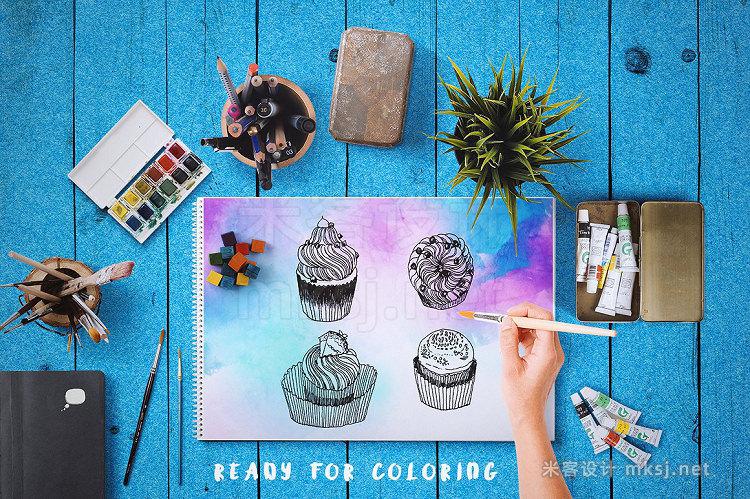 png素材 20 Handdraw cupcake inking