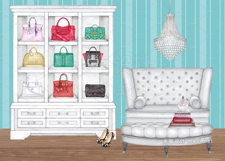 png素材 Ladies Luxury Bags walk-in closet