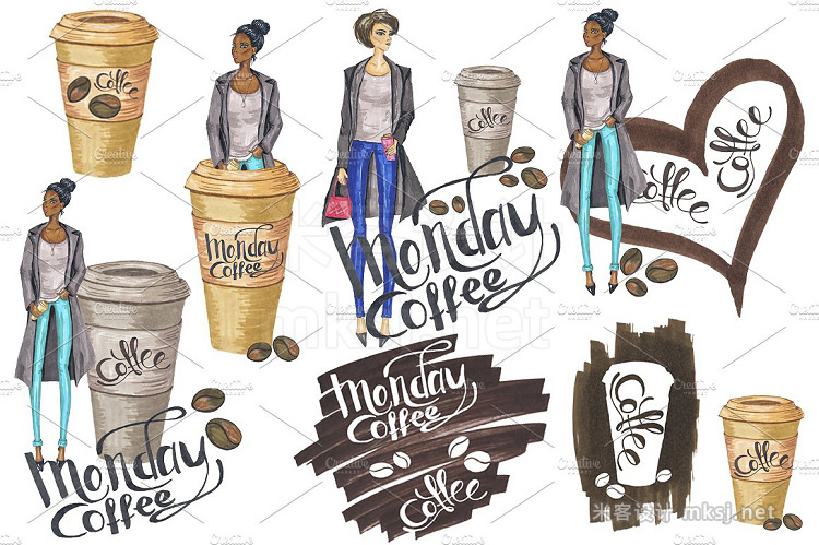 png素材 Coffee Fashion Hand-painted Clipart