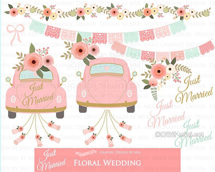 png素材 Floral Wedding Pink Flower set