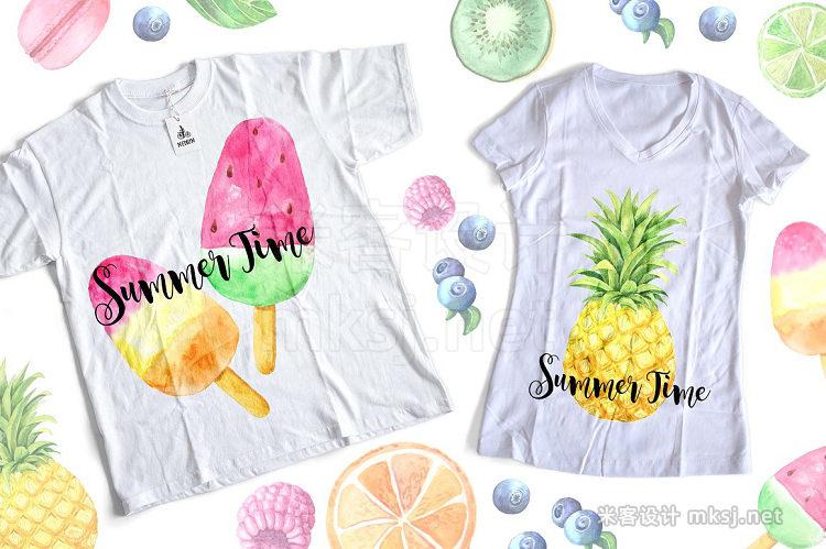 png素材 Watercolor Fruits & Desserts Set