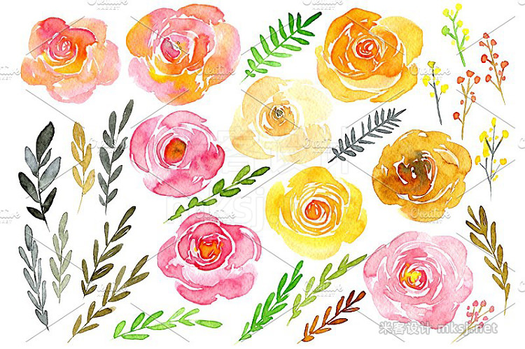 png素材 Yellow pink watercolor flowers