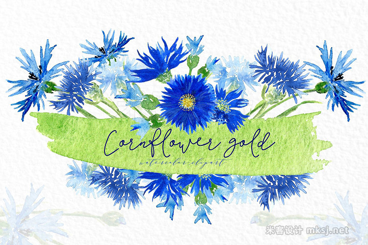 png素材 Cornflower gold Watercolor clipart