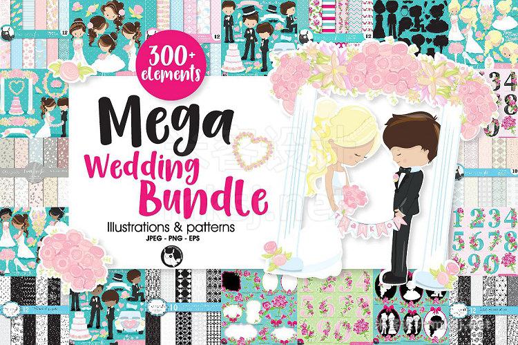 png素材 Mega Wedding Bundle 300 elements