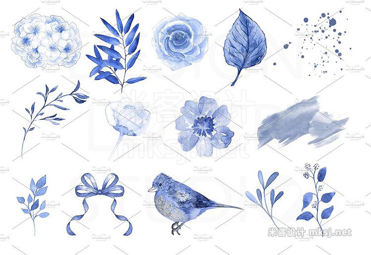 png素材 Watercolor Blue Flowers design