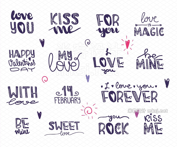png素材 Cute alphabet for Valentine's Day