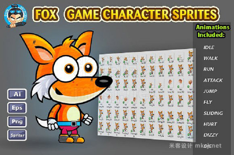 png素材 Fox 2D Game Character Sprites